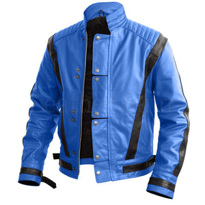 Leather Skin Men Blue Thriller Genuine Leather Jacket with Black Stripes
