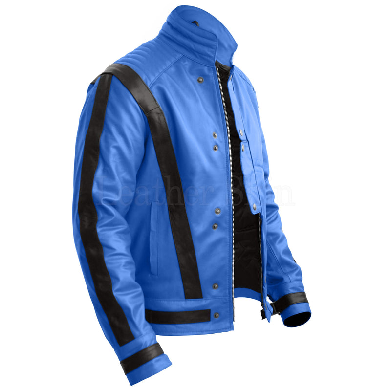 Blue Genuine Michael Jackson Leather Jacket with Black Stripes