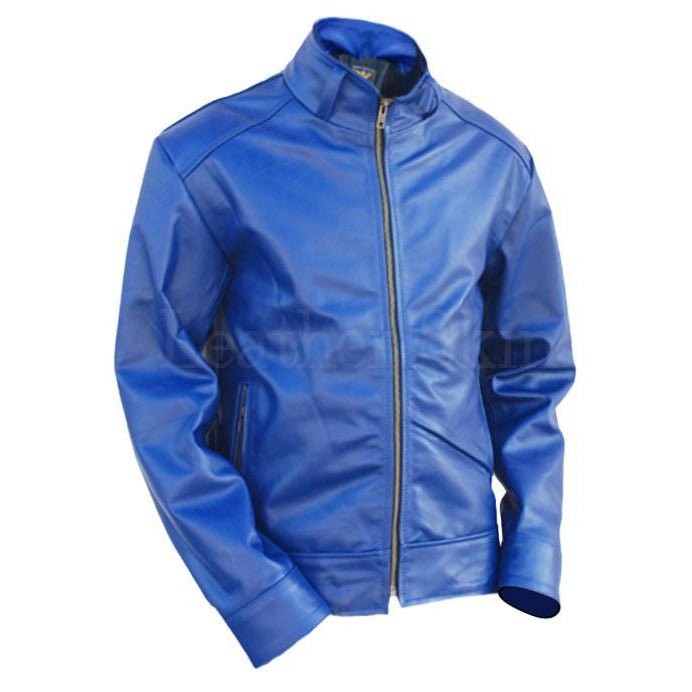 Blue Unisex Premium Genuine Pure Leather Jacket with Quilted Lining