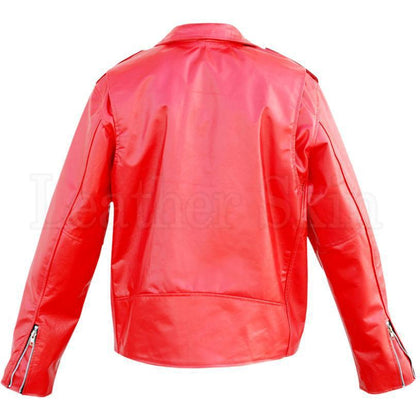 Red Leather Jacket for Unisex Back