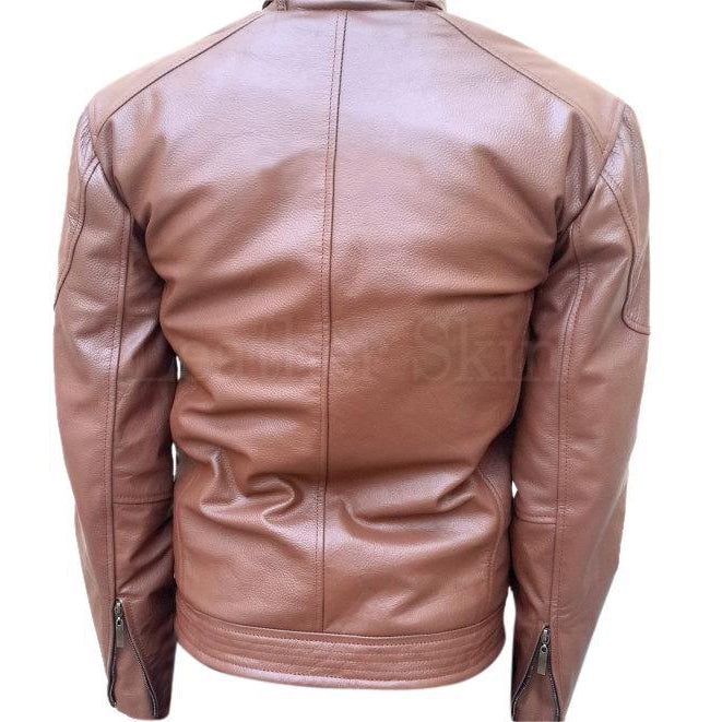 Brown Real Leather Jacket for Men (Back)