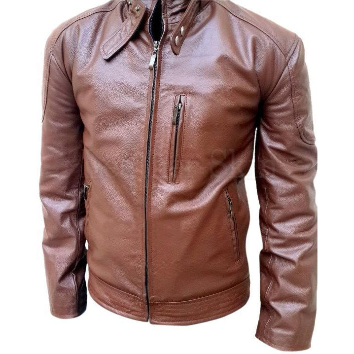 Men Brown Biker Genuine Leather Jacket