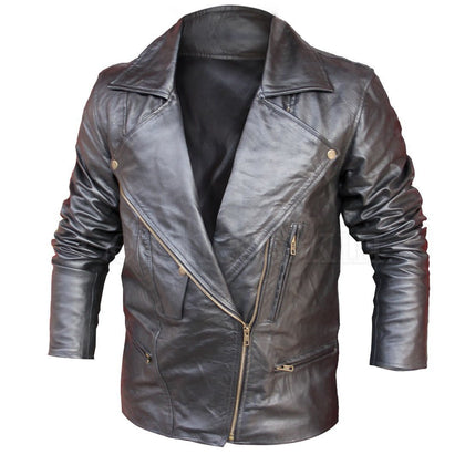 Men Black Leather Jacket with V Chest Collar