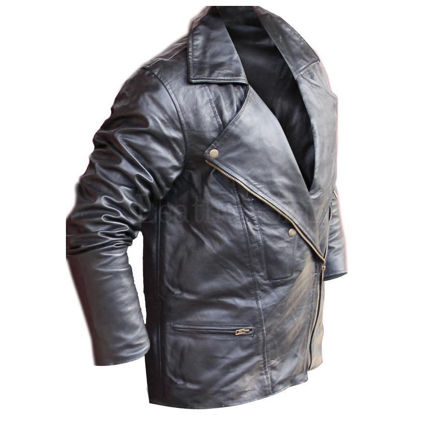 V-Collar Genuine Leather Black Jacket for Men