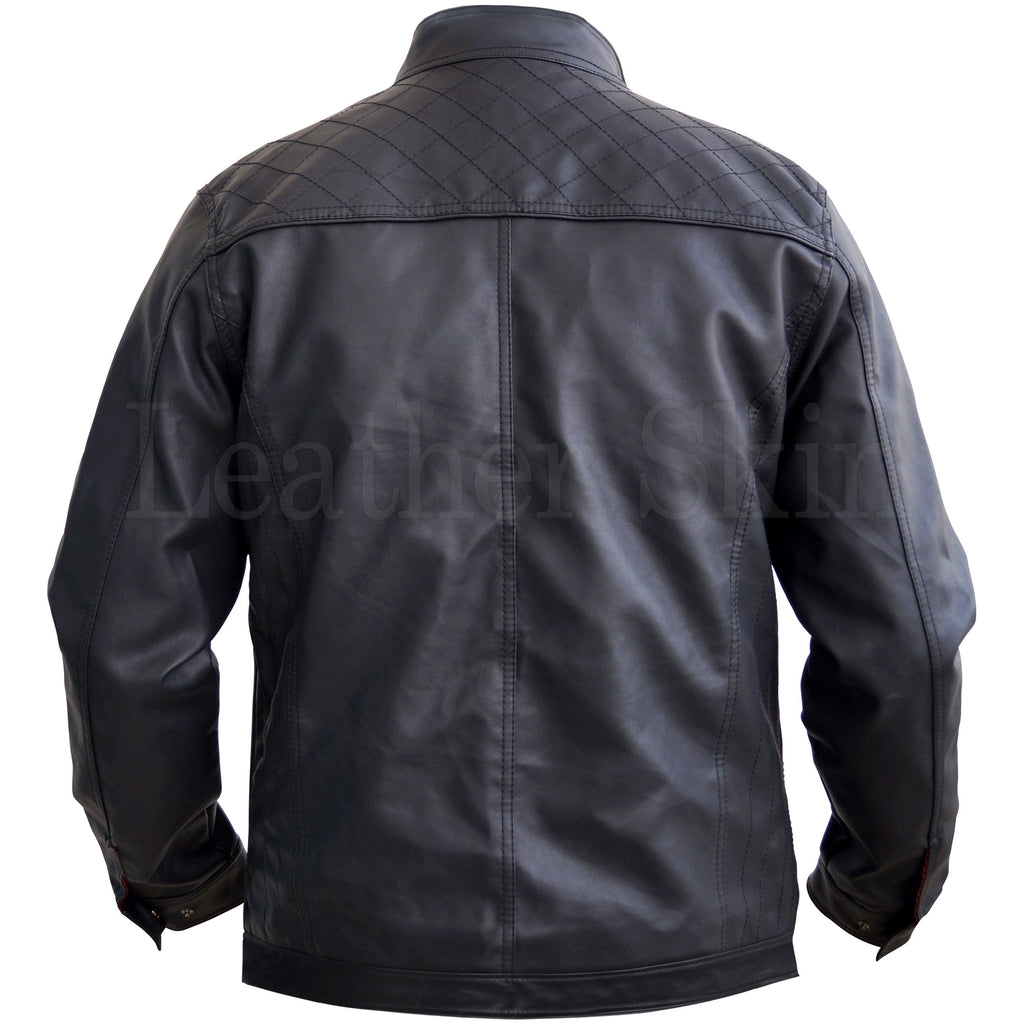 Black Men Real Leather Jacket with Diamond Quilted (Back)