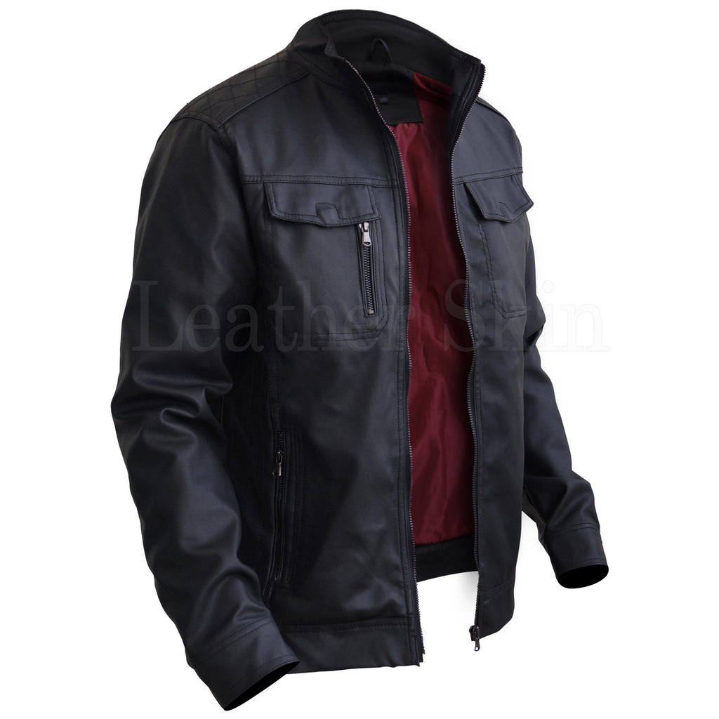 Genuine Black Leather Jacket with Red Lining