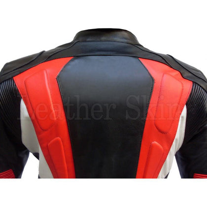 Biker Leather Jacket with Stripes