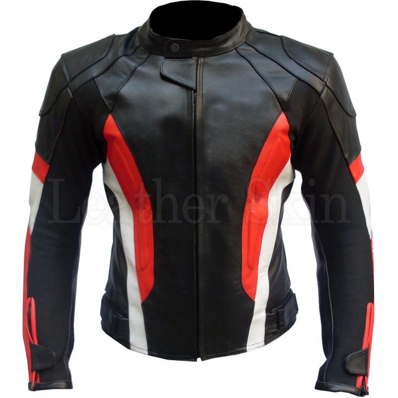Black Biker Leather Jacket with Red and White Stripes