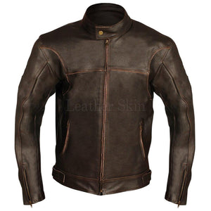 Leather Skin Brown Biker Motorcycle Premium Genuine Leather Jacket