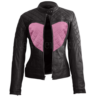 Leather Skin Women Shoulder Quilted Pink Love Heart Genuine Leather Jacket