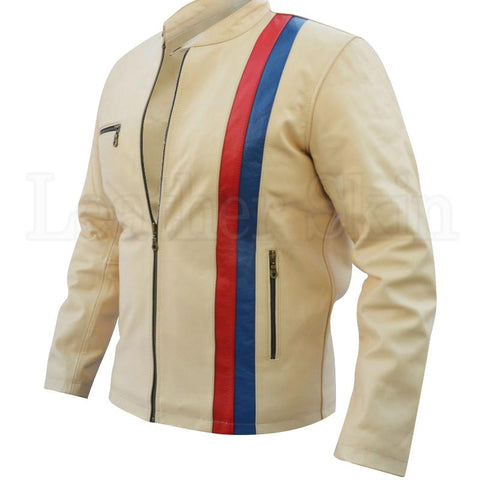 Men Off-White Cream Blue Red Stripes Motorcycle Genuine Leather Jacket
