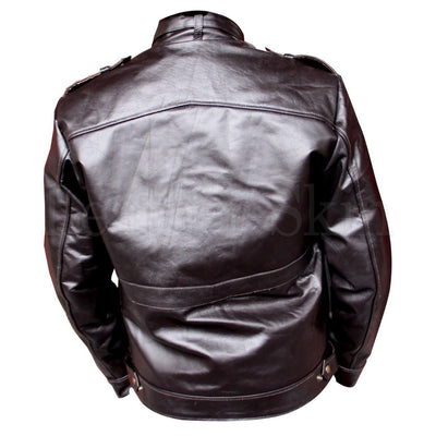 Collar Strap Black Genuine Leather Jacket for Men (Back)
