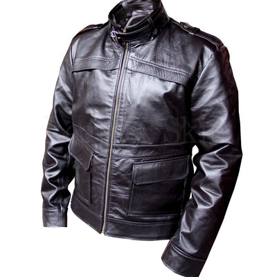 Men Black Genuine Leather Jacket with Side Flap Pockets