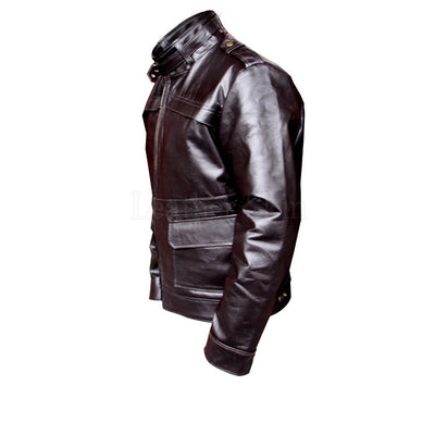 Men Black Real Leather Jacket with Side Flap Pockets