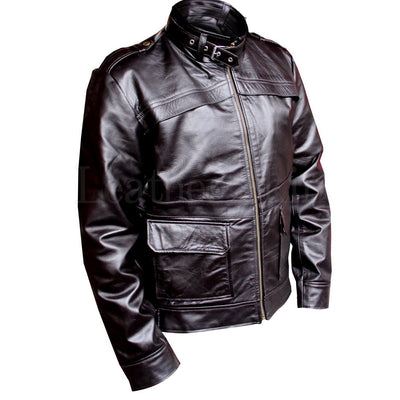 Men Black Genuine Leather Jacket with Collar Straps