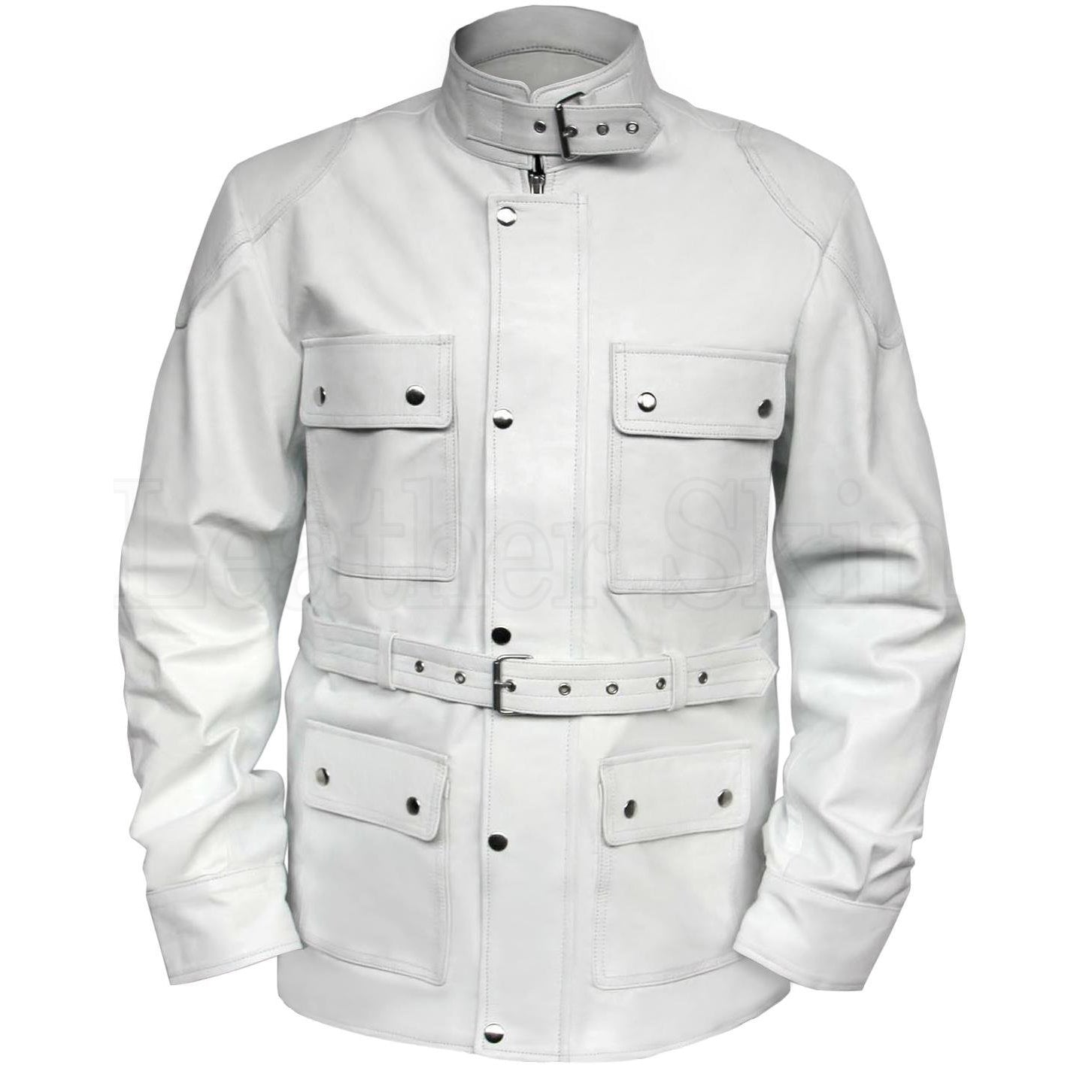 Unisex White Belted Genuine Leather Jacket with Front Pockets