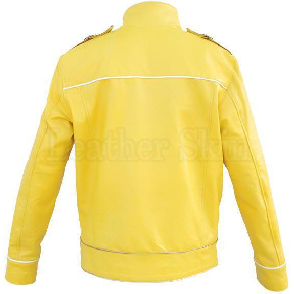 Yellow Military Unisex Genuine Leather Jacket (Back)