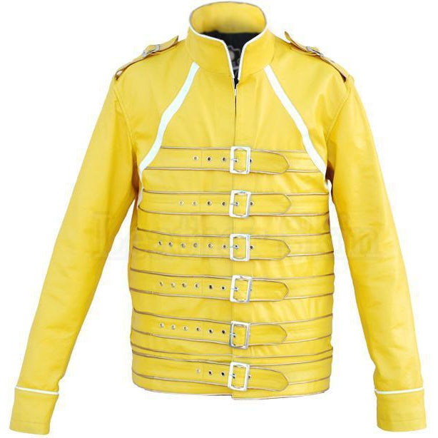 Military Yellow Leather Jacket with Belts for Men Women