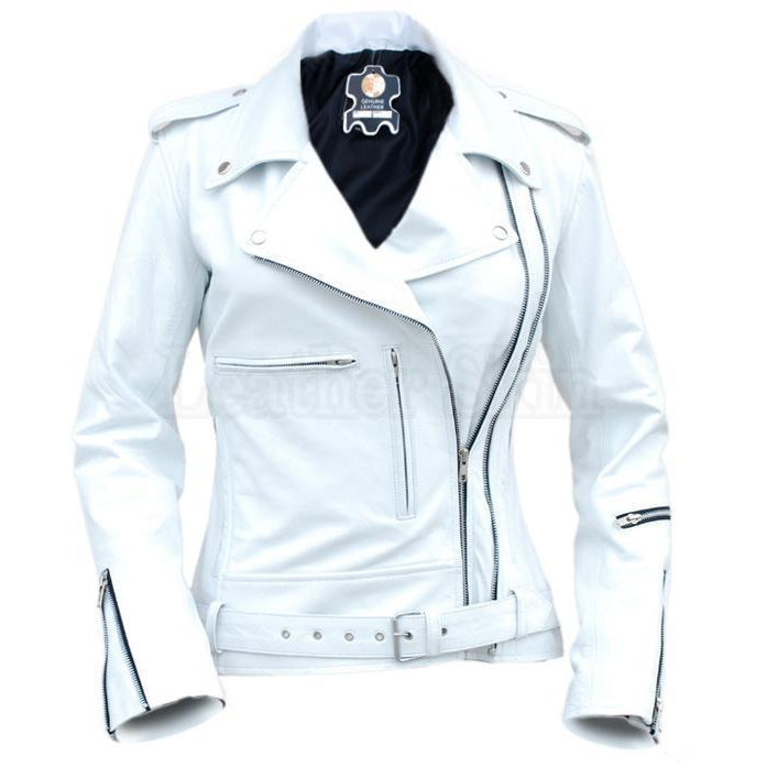 NWT White Angel Belted Brando Style Premium Genuine Pure Leather Jacket