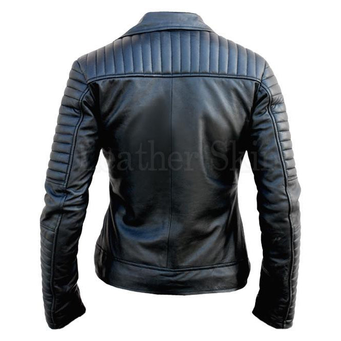 d5d1485e1 NWT Black Brando Padded Shoulder Sleeves Women Genuine Real Pure Leather  Jacket