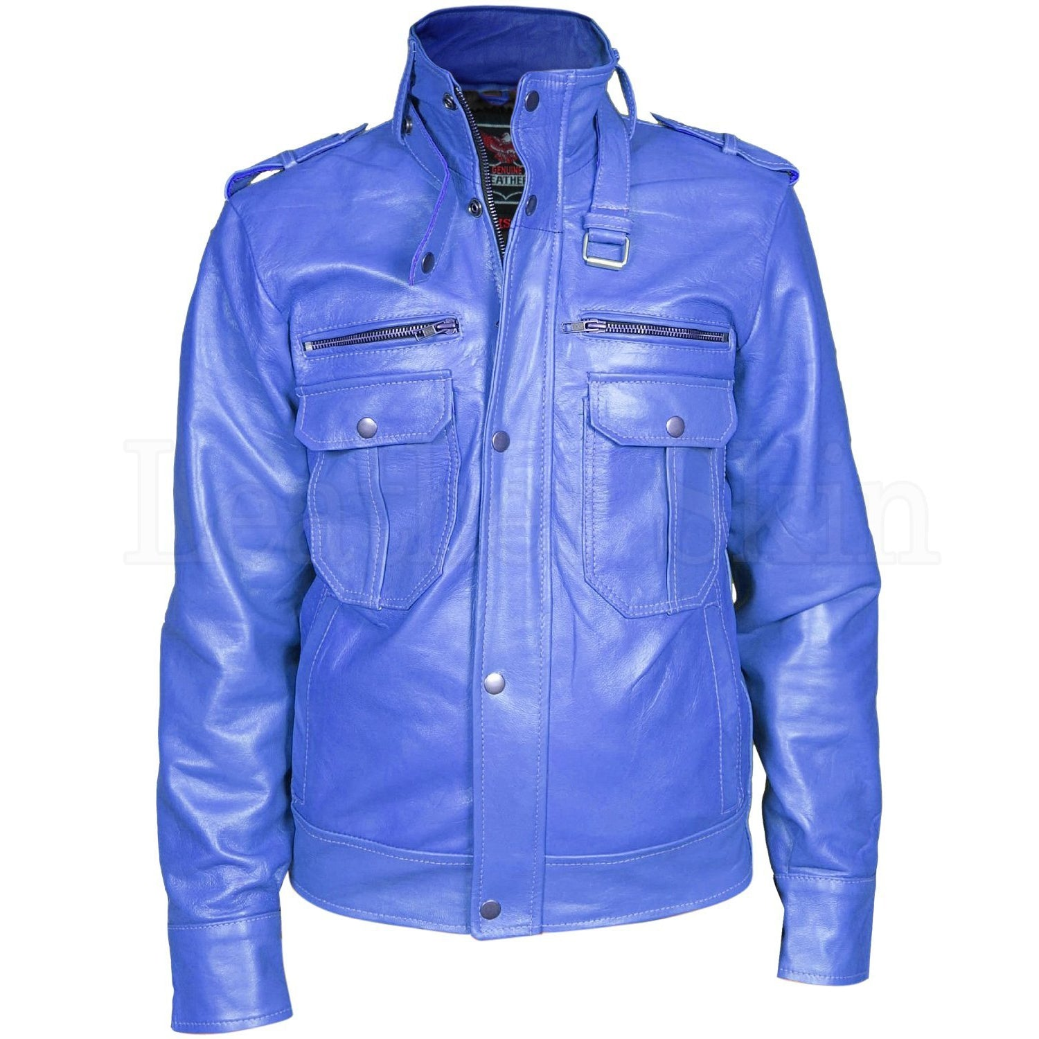 Men Blue Biker Motorcycle Genuine Leather Jacket