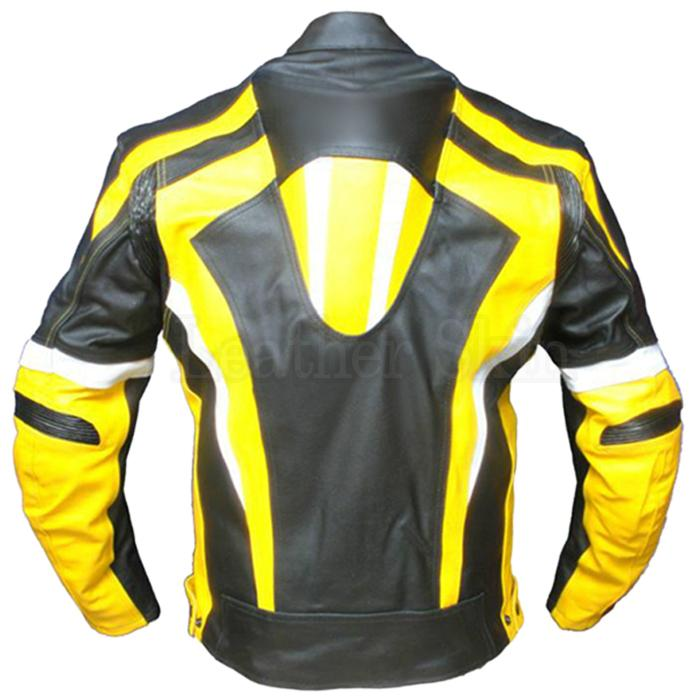 Men Yellow Stripes Real Leather Jacket (Back)