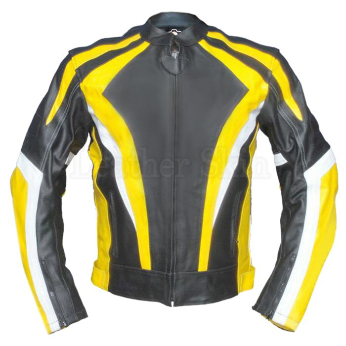 Yellow Stripes Biker Leather Jacket for Racing