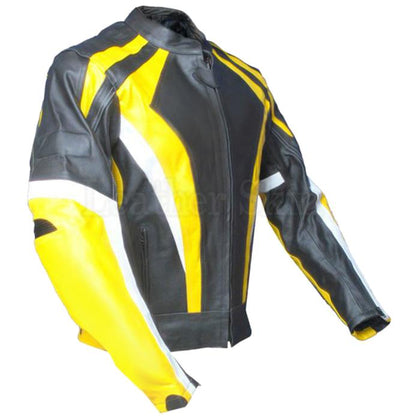Men Yellow Stripes Genuine Leather Jacket