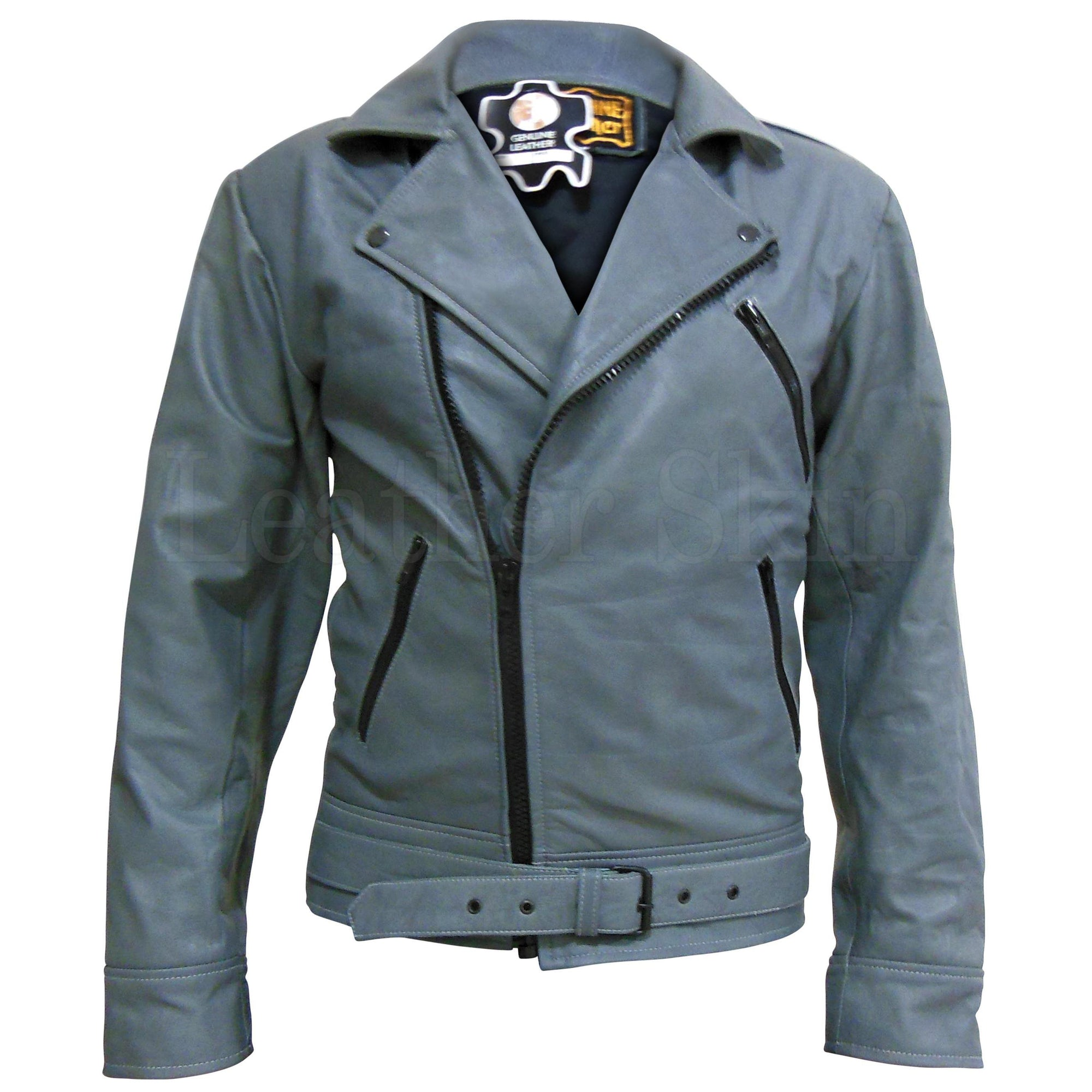 Gray Brando Belted Unisex Mens Womens Biker Motorcycle Genuine Leather Jacket