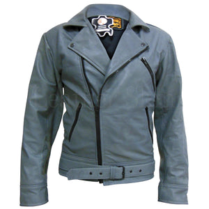 Men Gray Brando Genuine Real Leather Jacket