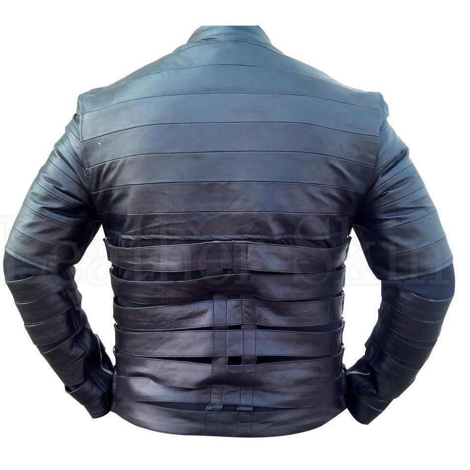 Layered Men Genuine Real Leather Jacket in Black Color
