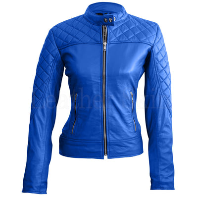Leather Skin Women Blue Quilted Sexy Stylish Premium Genuine Leather Jacket