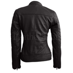 Leather Skin Women Black Quilted Genuine Leather Jacket