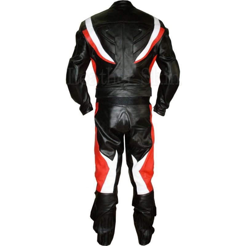 Black Leather Suit for Men with White Red Stripes (Back)