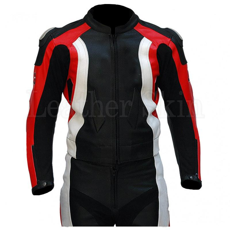 Black Biker Real Leather Jacket with Red White Stripes