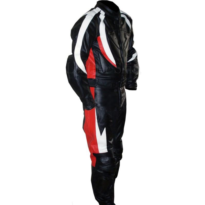 Men Black Leather Suit with Red White Stripes