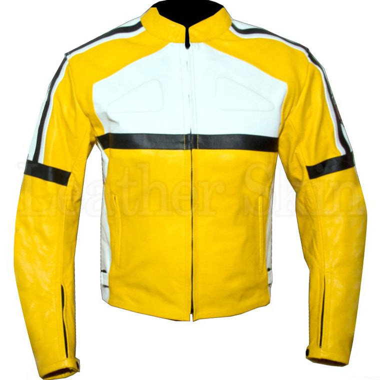 Leather Skin Yellow White Biker Motorcycle Racing Premium Genuine Leather Jacket