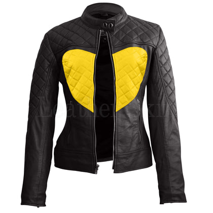 Leather Skin Women Shoulder Quilted Yellow Love Heart Genuine Leather Jacket