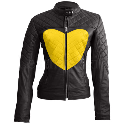 Leather Skin Women Shoulder Quilted Yellow Genuine Leather Jacket