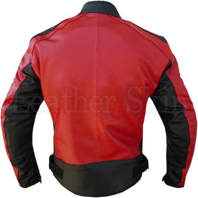 Red Leather Jacket for Men Racing (Back)