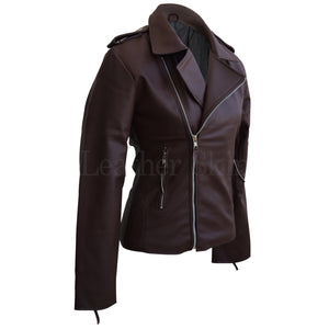 NWT Brown Brando Women Ladies Sexy Stylish Premium Synthetic Leather Jacket