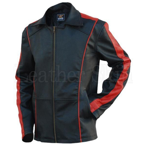 Men Black Genuine Leather Jacket with Red Stripes