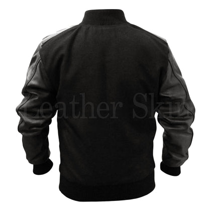 Fabric Jacket for Men with Leather Sleeves and Elastic Bottom