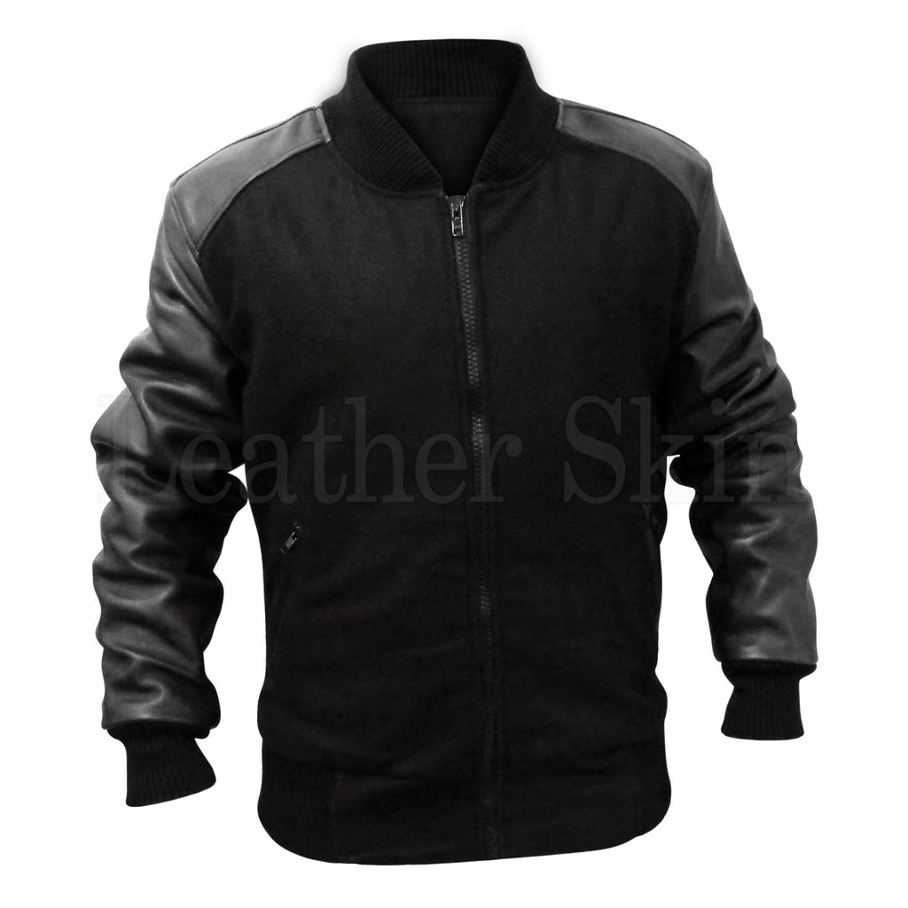 Men Black Fabric Jacket with Leather Sleeves