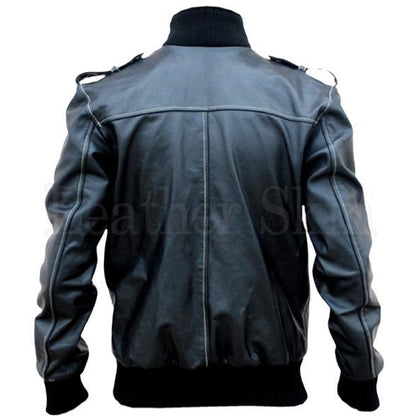 Men Real Leather Jacket with Shoulder Epaulettes