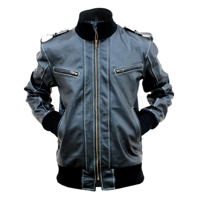 Men Black Genuine Leather Jacket with Elastic Collars
