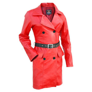 Women Red Leather Coat with Black Belt