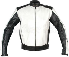 Men White Racing Real Leather Jacket