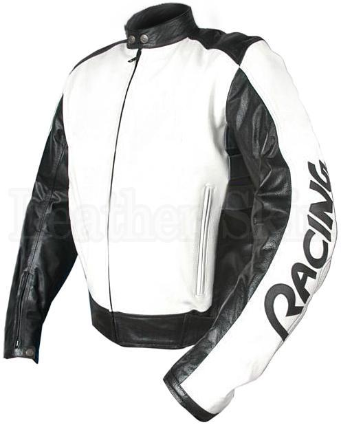 White Racing Biker Motorcycle Genuine Leather Jacket