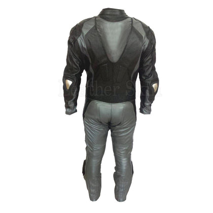 Men Black Real Leather Jacket with Gray Stripes (Back)